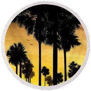 San Diego Sunset Round Beach Towel