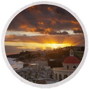 San Juan Sunrise Round Beach Towel