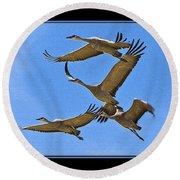 Sandhill Cranes In Flight Round Beach Towel