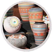 Santa Fe - Pottery Round Beach Towel