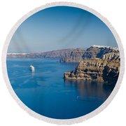 Santorini Caldera Round Beach Towel