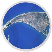 Satellite View Of Cape Cod National Round Beach Towel