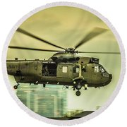 Sea King Helicopter Round Beach Towel