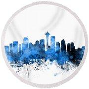 Seattle Washington Skyline Round Beach Towel by Michael Tompsett