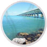 Seven Mile Bridge-1 Round Beach Towel