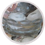 Shells In Bubble Bowl 2 Round Beach Towel