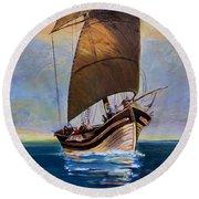 Ship Ahoy Round Beach Towel