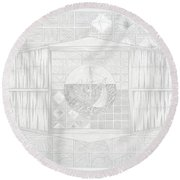 Ship In The Ring Round Beach Towel