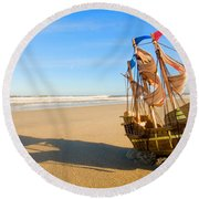 Ship Model On Summer Sunny Beach Round Beach Towel