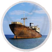 Shipwreck On Lanzarote Round Beach Towel