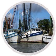 Saltwater Cowboys Round Beach Towel