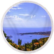 Sicily View Round Beach Towel