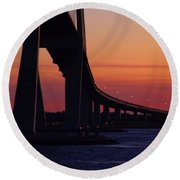 Sidney Lanier Bridge At Sunset Round Beach Towel