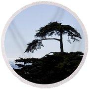 Silhouette Of Monterey Cypress Tree Round Beach Towel