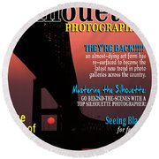 Silhouette Photographer Faux Magazine Cover Round Beach Towel