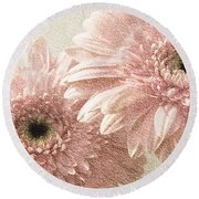 2 Silver Pink Painterly Gerber Daisies Round Beach Towel