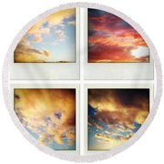 Skies Round Beach Towel by Les Cunliffe