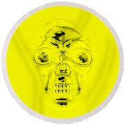 Skull In Yellow Round Beach Towel