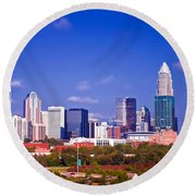 Skyline Of Uptown Charlotte North Carolina At Night Round Beach Towel