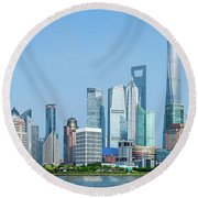 Skylines At The Waterfront, Oriental Round Beach Towel
