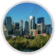 Skylines In A City, Bow River, Calgary Round Beach Towel