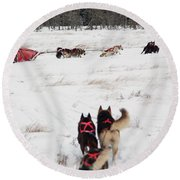 Sled Dog Round Beach Towel