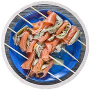 Smoked Salmon And Grilled Artichoke Round Beach Towel