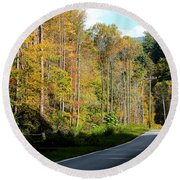 Smoky Mountain Road Trip Round Beach Towel