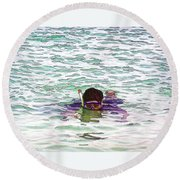 Snorkeling In The Lagoon Inside The Coral Reef Round Beach Towel
