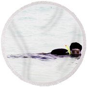 Snorkelling Sideways In The Lagoon Round Beach Towel