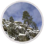 Snow Covered Cliffs And Trees II Round Beach Towel