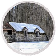 Snow On The Roof Round Beach Towel