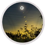 Solar Eclipse Composite, Queensland Round Beach Towel by Philip Hart