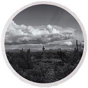 Sonoran Desert In Black And White  Round Beach Towel