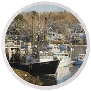 South Bristol And Fishing Boats On The Coast Of Maine Round Beach Towel