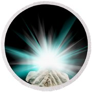 Spiritual Light In Cupped Hands On A Black Background Round Beach Towel