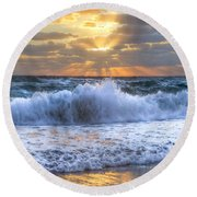 Splash Sunrise Round Beach Towel by Debra and Dave Vanderlaan