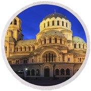 St Alexander Nevsky Cathedral At Dusk Sofia Bulgaria Round Beach Towel