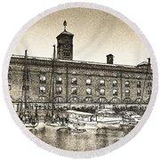 St Katherine's Dock London Sketch Round Beach Towel