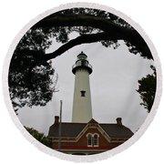 St Simons Island Lighthouse Round Beach Towel