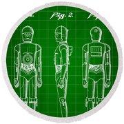 Star Wars C-3po Patent 1979 - Green Round Beach Towel