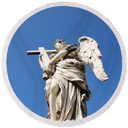 Statue In Vatican City Round Beach Towel