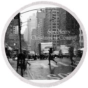 Stay Merry - Christmas Is Coming - Holiday And Christmas Card Round Beach Towel