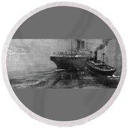 Steamship Accident, 1914 Round Beach Towel