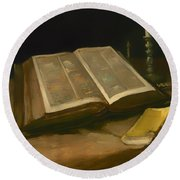 Still Life With Bible Round Beach Towel