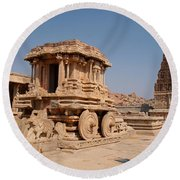 Stone Chariot At Vittala Temple  Round Beach Towel