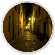 Street Alley By Night Round Beach Towel