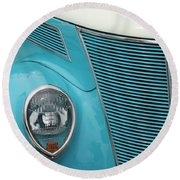 Street Car  Blue Grill With Headlight Round Beach Towel