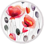 Stylized Poppy Flowers Illustration  Round Beach Towel