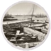 Suez Canal Port Said Round Beach Towel